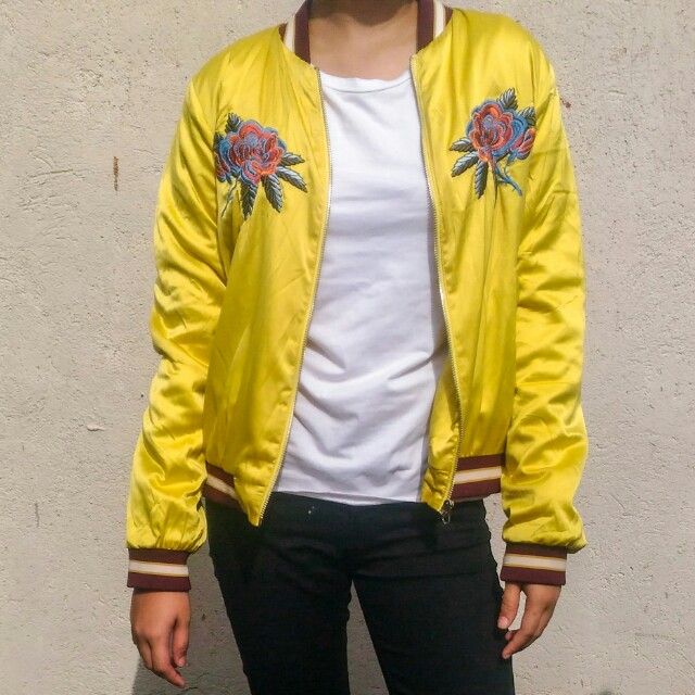 Forever 21 Satin Embroidered Yellow Bomber Jacket Women S Fashion