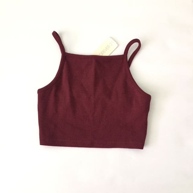 9544d864c6b5b Forever 21 square neck ribbed Basic Crop tank top