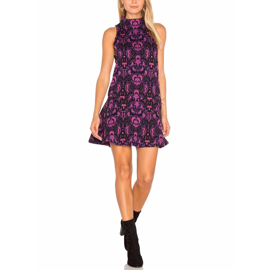 Free People Halter Sleeveless Purple Black Print Mini Dress - Size L - New $118