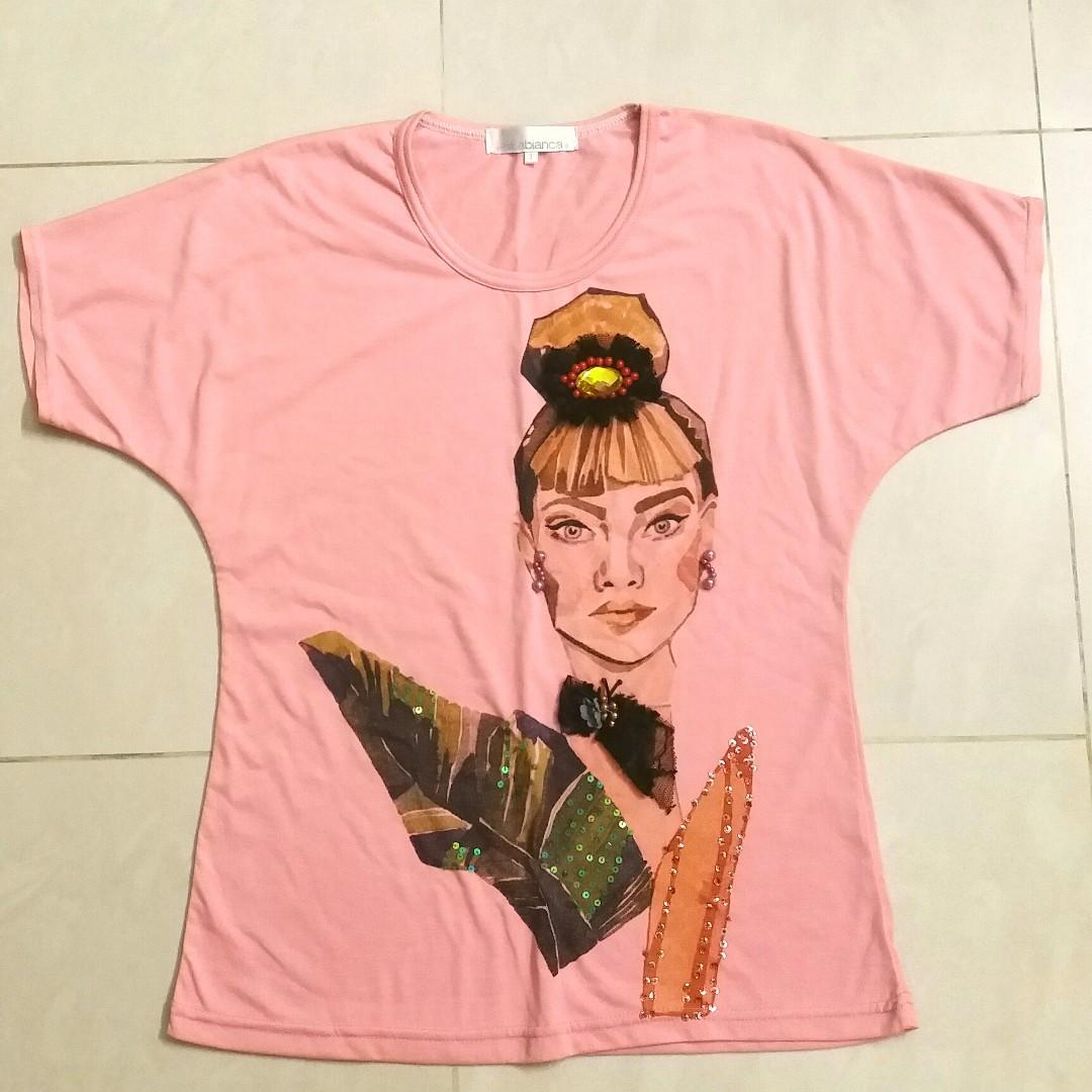 FREE POST Audrey Hepburn Salabianca Detailed Pink Top