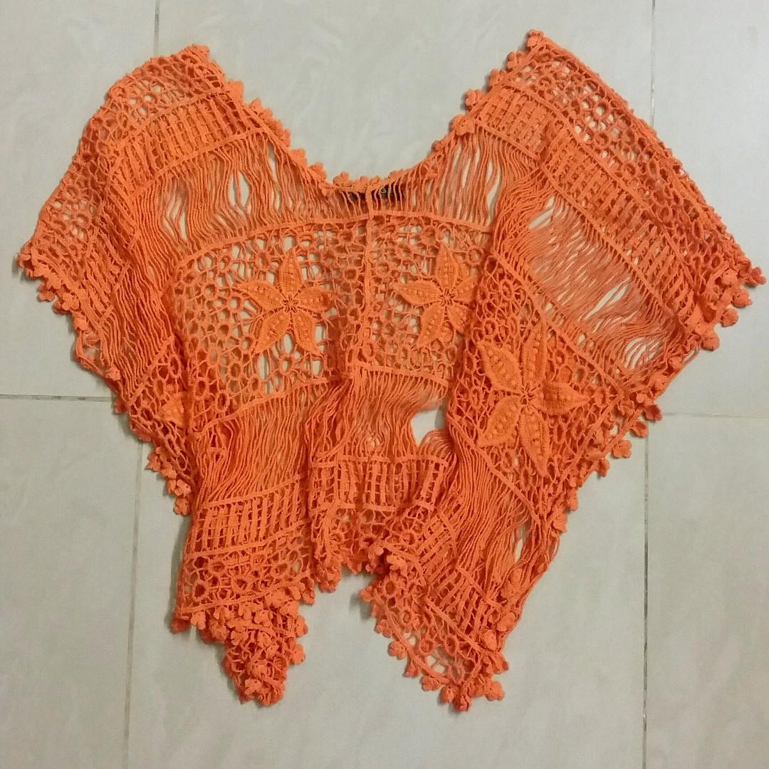 FREE POST Orange crochet outerwear