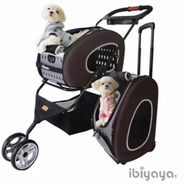 依比呀呀-FS1009五彩繽紛寵物推車提包組-咖啡