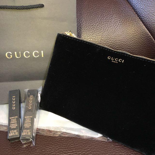 Gucci beauty 正品絲絨質感化妝包