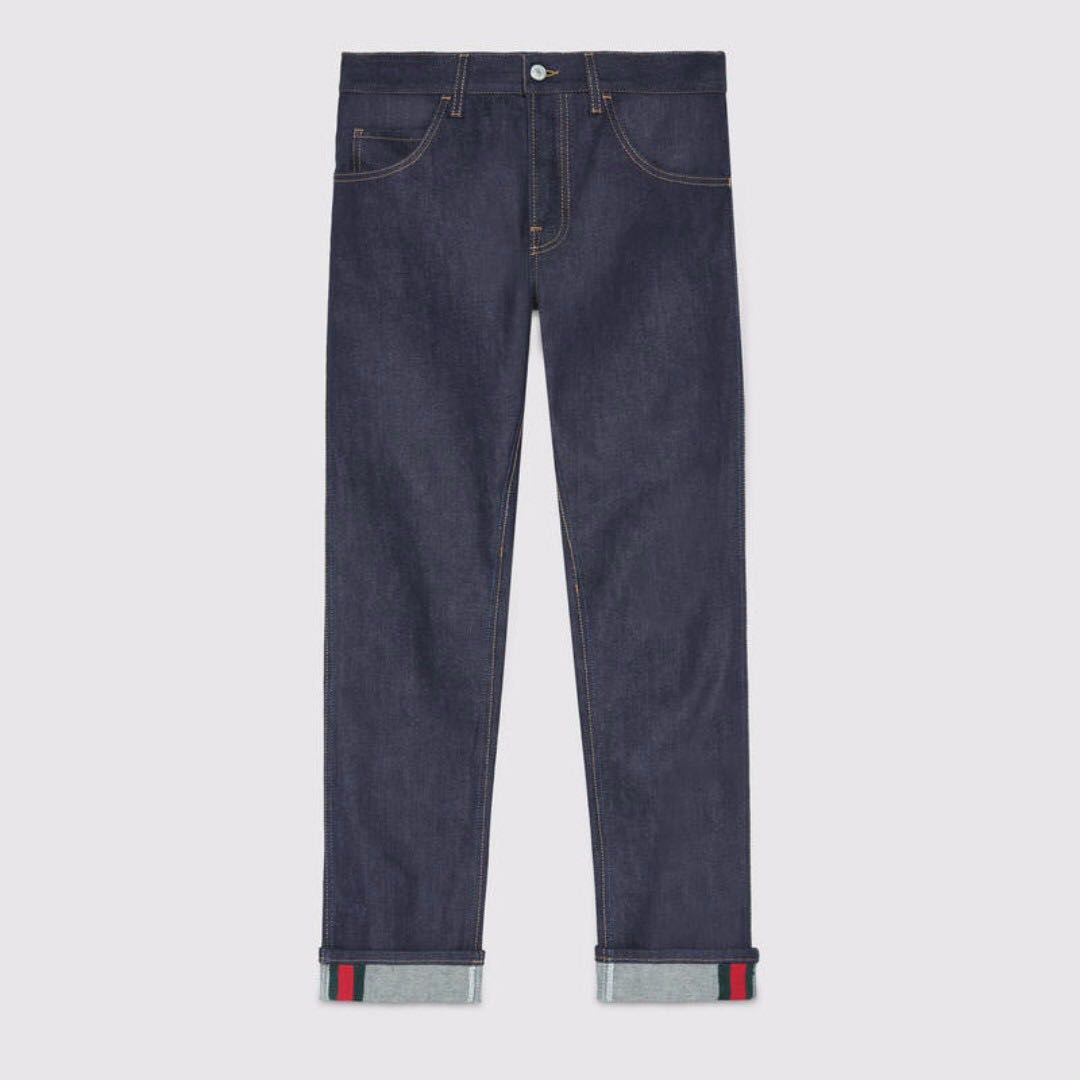Gucci Tapered denim jeans with Web