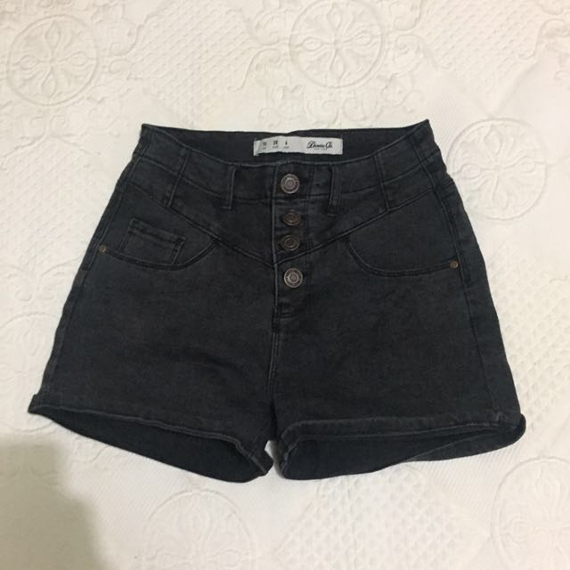 High Waisted Black Denim Shorts