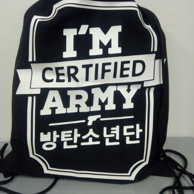 I am Certified Army String Bag   BTS Bag