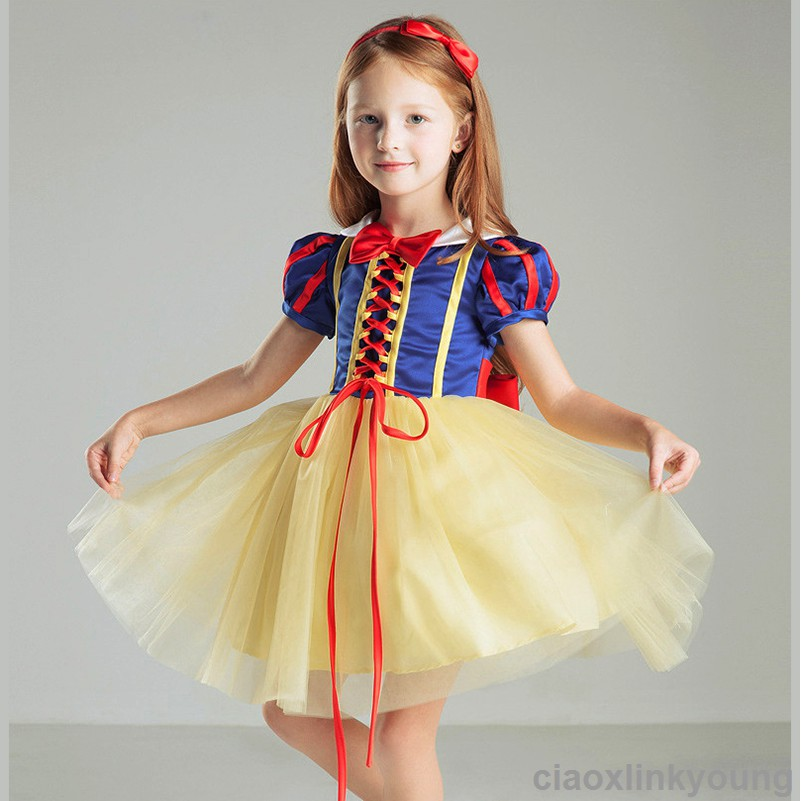 a310227aef2 Kids Girl Snow White Princess Halloween Party Cosplay Costume Dress