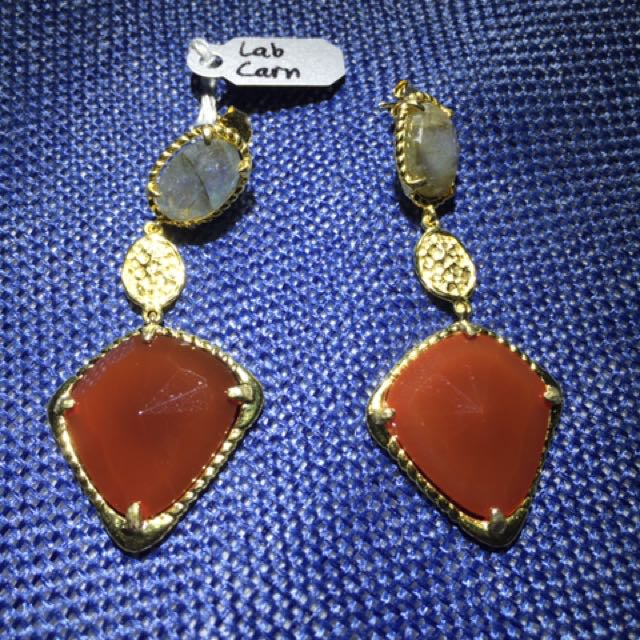 Lanradonite and Carnelian Earrings