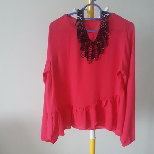 Last Piece! Rosy Fuschia Pink Flowy Asymetric Flowy Blouse  Top Free Size