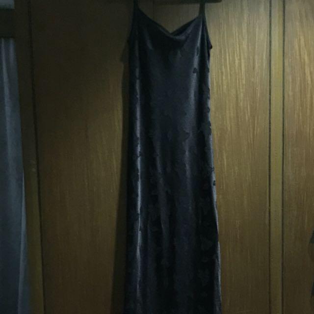 Long Spag Strap Brown Dress With Leaf Details