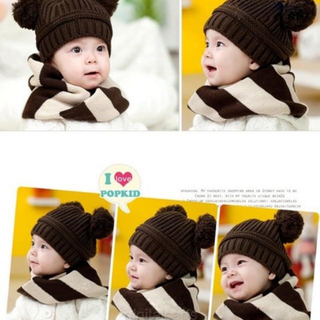 80871241981 Lovely baby girls boys dual ball knit wool sweater cap winter warm ...
