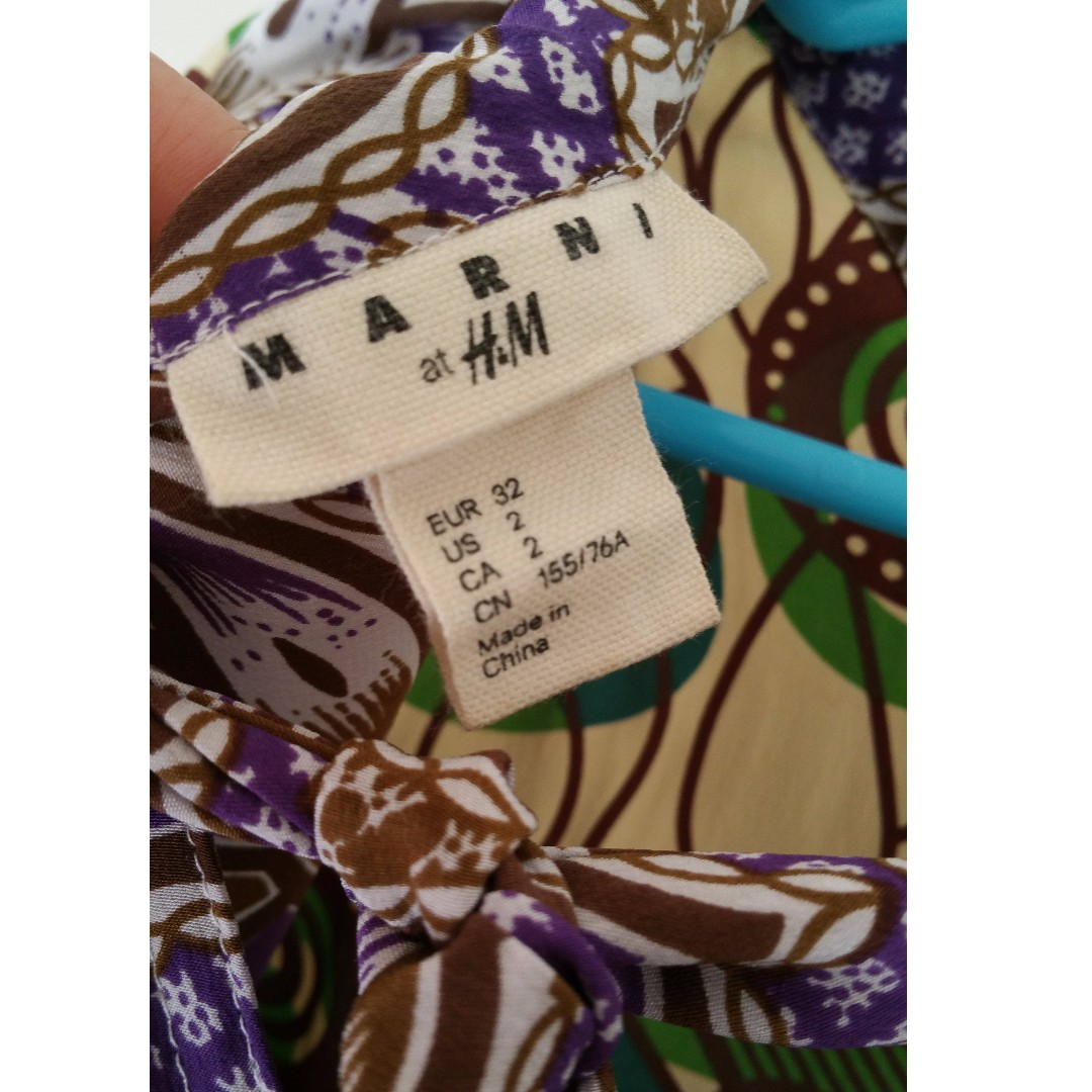 Marni @ H&M collection double sided printed silk blouse with tie, sz 2USA 32EUR