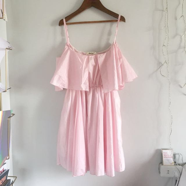 Millennial Pink Offshoulder Dress