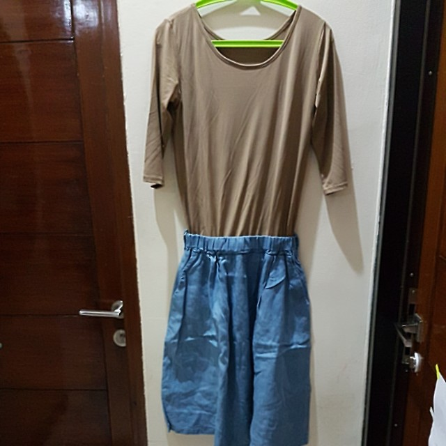 Mini dress kombinasi