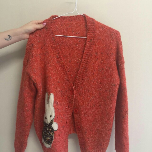 Mixed knit orange cardigan