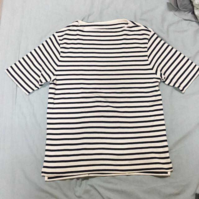 MUJI無印良品 男船領粗織短袖T恤 深藍條紋 S號