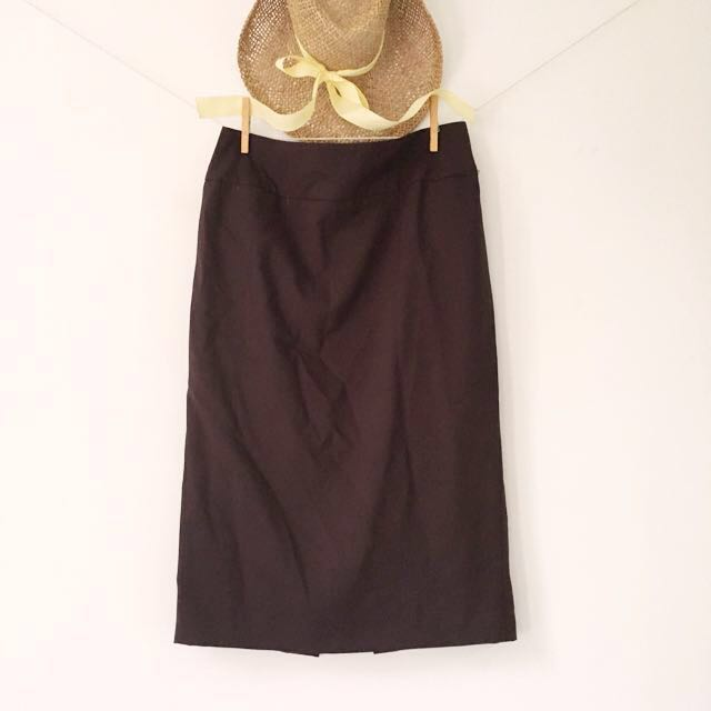 [NEXT UK] Corey On A Conference Call - Brown Formal Skirt with Back Slit.