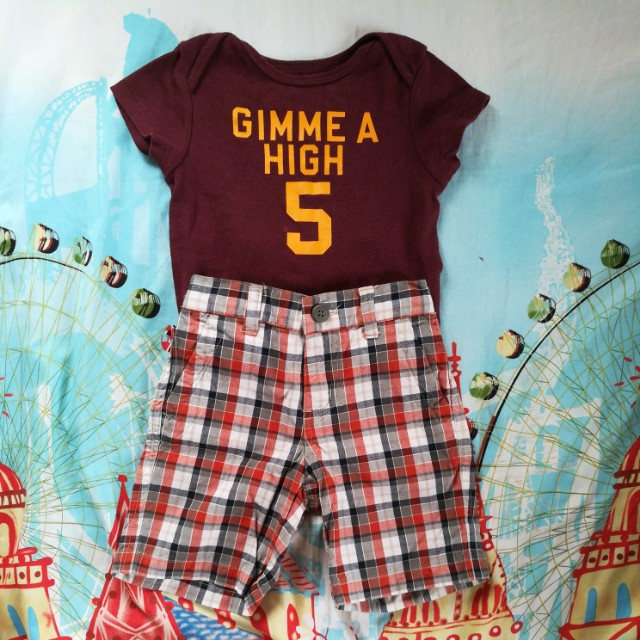 Old navy onesie and plaid shorts bundle