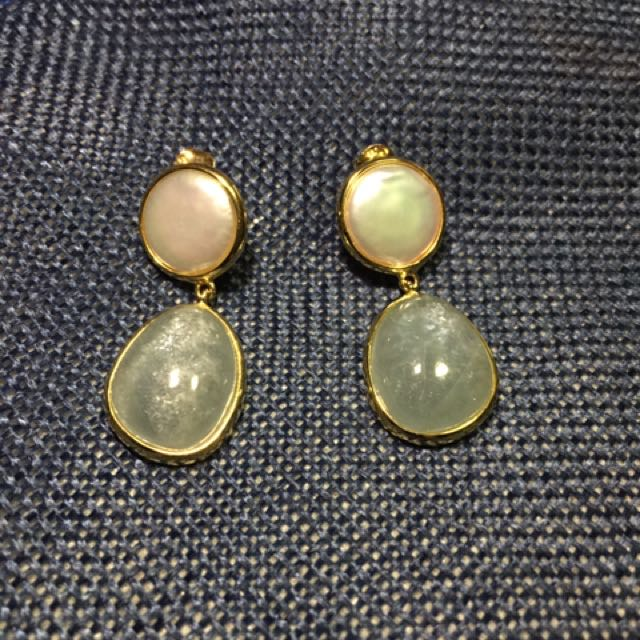 Pearl and Aquamarine Earrings