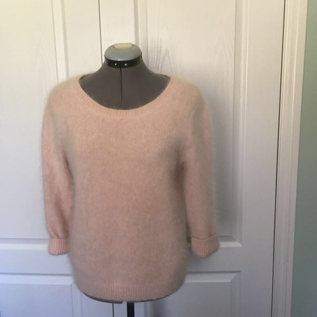 Pink Furry/feathery Knit Sweater From Club Monaco