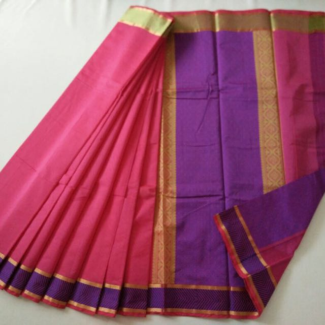 eb6e989ee4dc2b Plain Saree - Silk Cotton Material With attached contrast blouse (25 ...