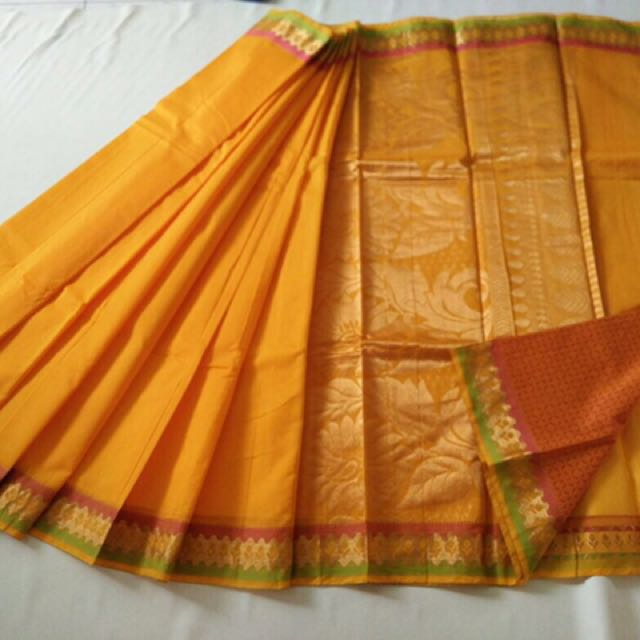 a9a991de74d679 Plain Saree - Silk Cotton Material With attached contrast blouse Normal  wash.. Use shampoo material will be soft... Due to digital photography  colors may ...