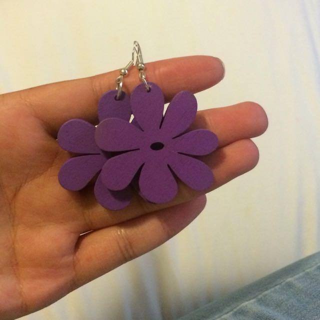 Purple Flower Silver Earrings