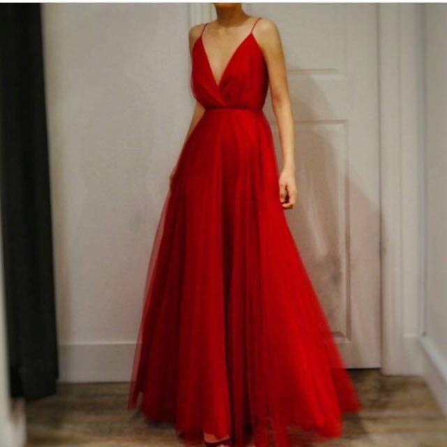 Red Maxi Dress - size small