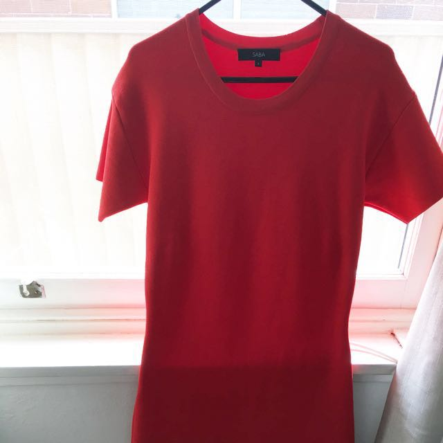 Saba dress in red sit on the knee thick stretch material