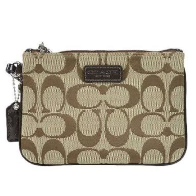 Signature Coach Brown Small Wristlet