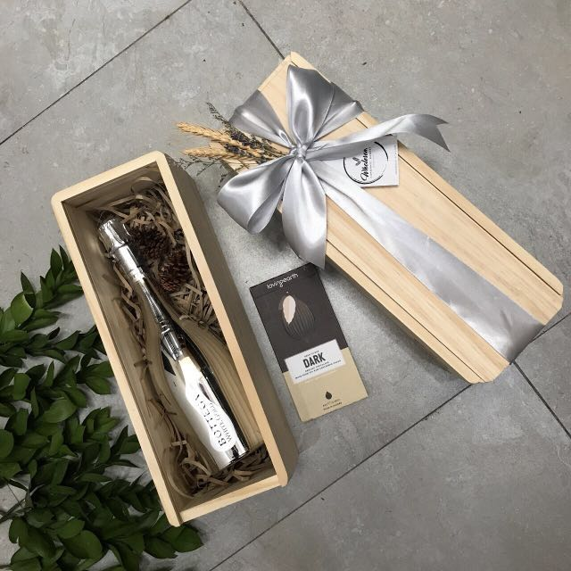 Silver Satin Parcel GIft Wine