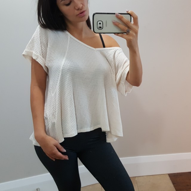 Slouchy White Lounge Top