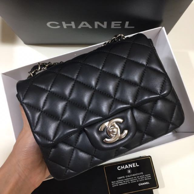 cddb6a951111 SOLD) Chanel Classic Square Mini in Black Lambskin with Shiny Silver ...