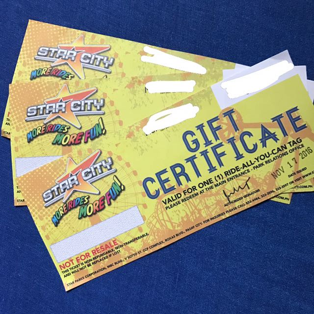 Star City Ride All You Can Gift Certificate