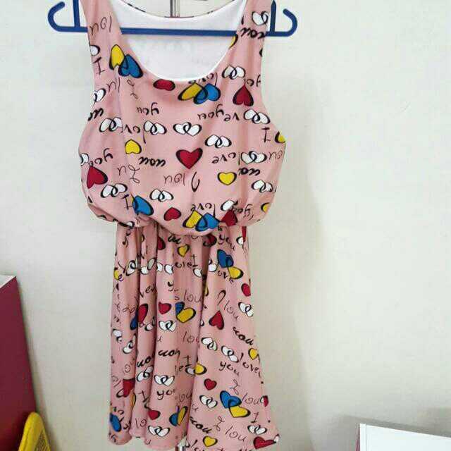 Sweet Pink  Mini Dress Free Size