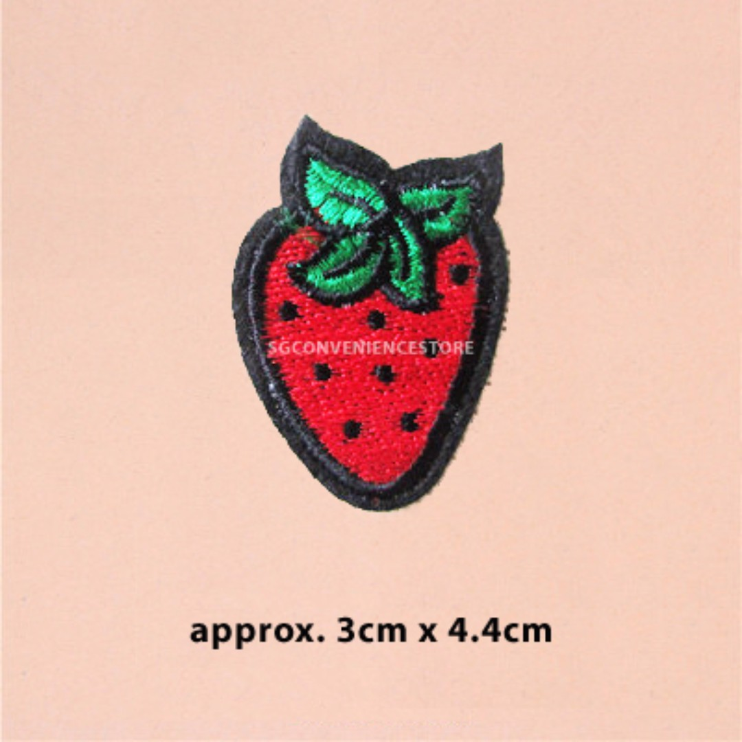 6e70041e28ae Sweet Red Strawberry Fruit DIY Fabric Embroidery Iron On Patches ...