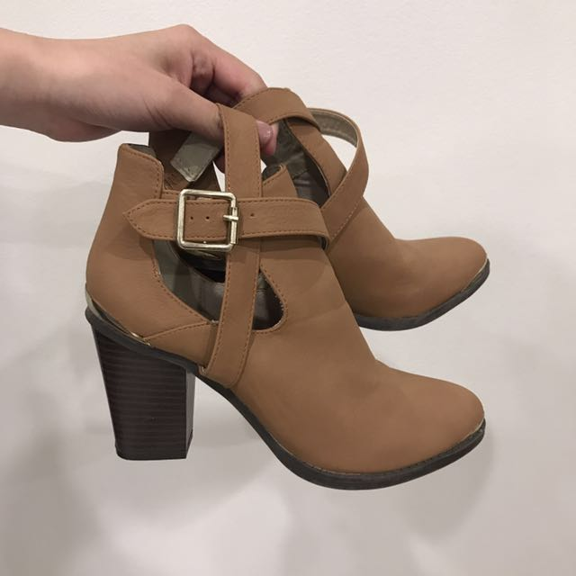 Tan Cut Out Boots With Gold Trim