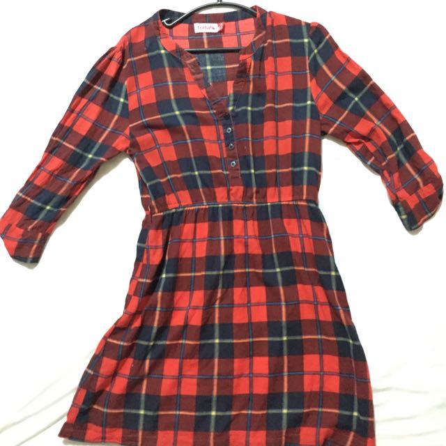 Tomato Checkered Dress