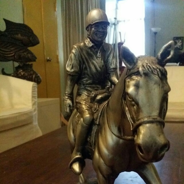 Tun Dr Mahathir riding an arabian Horse statue silver color
