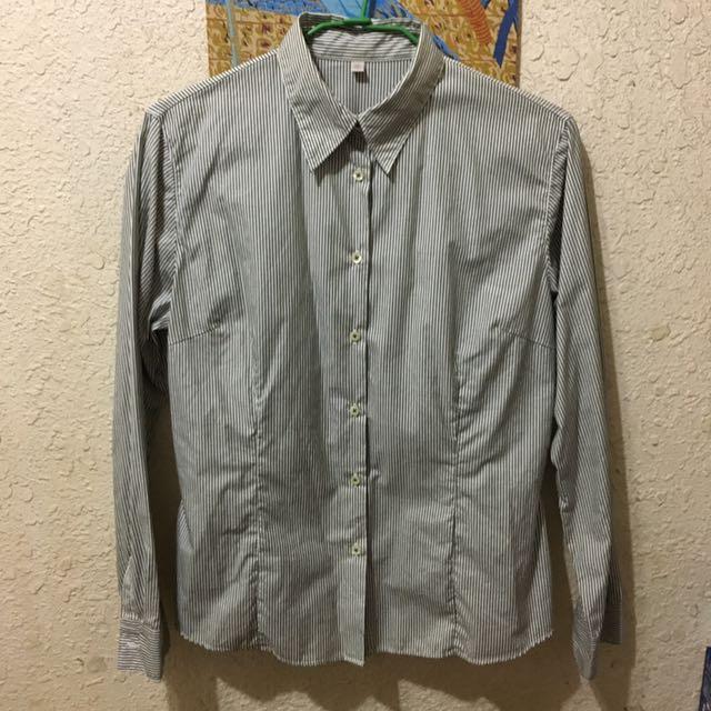 UNIQLO直條紋長袖襯衫-灰