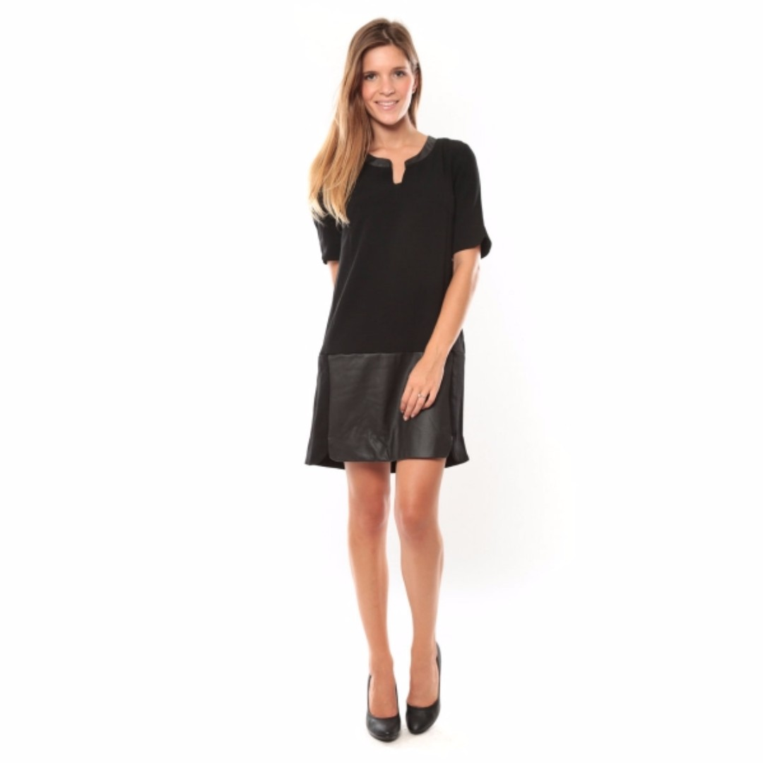 Vero Moda Black Selma 3/4 Partial Lined, Faux Leather Detailing Short Dress - M
