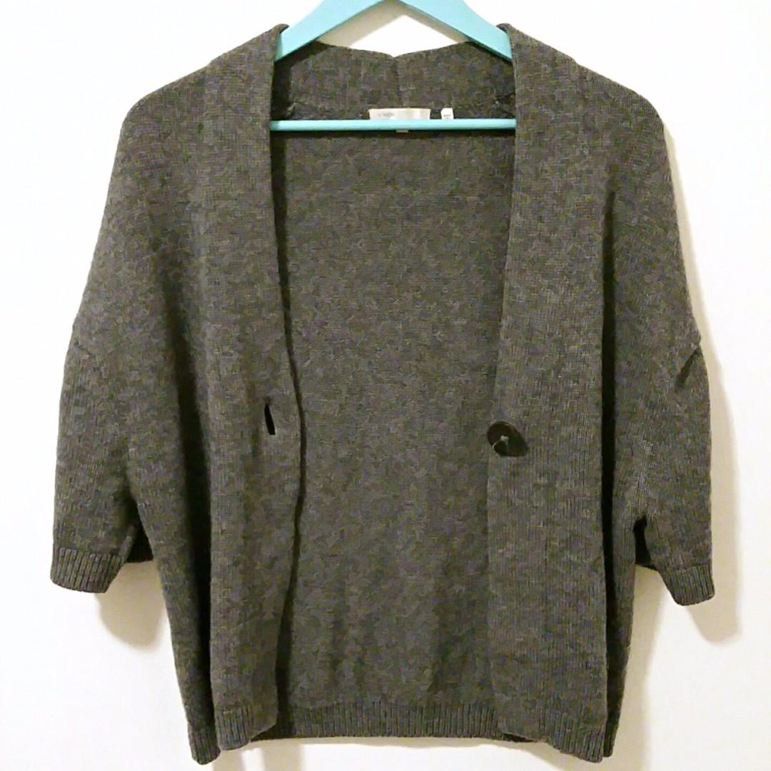 VINCE Gray Cashmere Blend Single Button V-Neck Boxy Style Soft Cardigan Size S