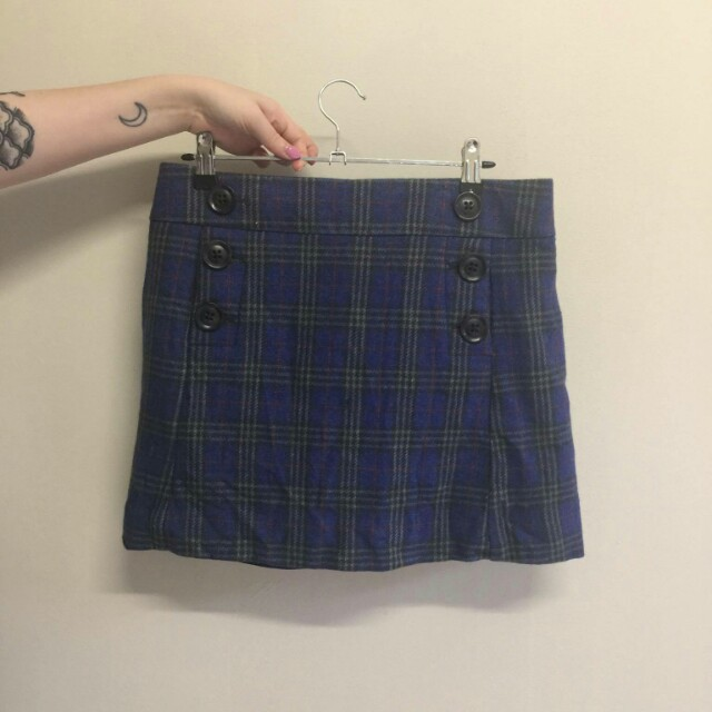 Vintage blue plaid skirt