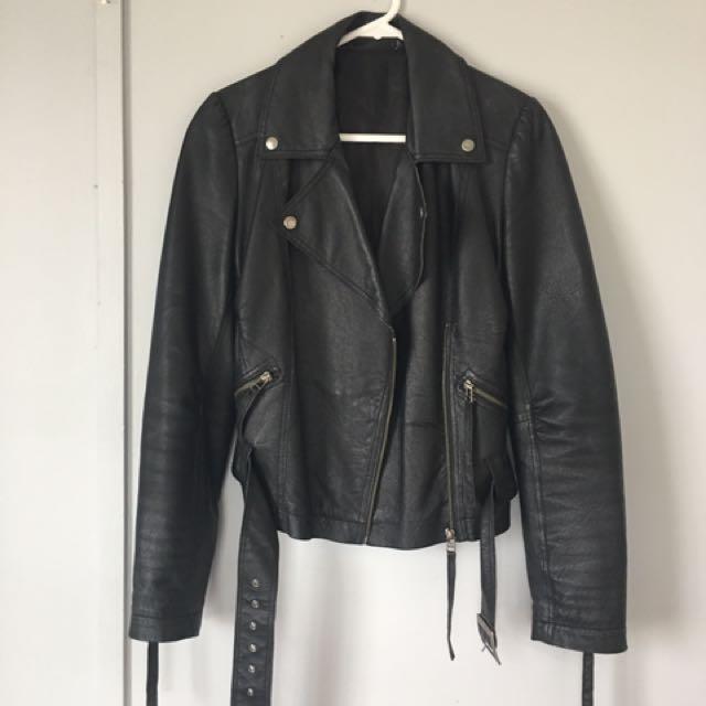 Womens Black Leather Motorcycle Jacket Size 10