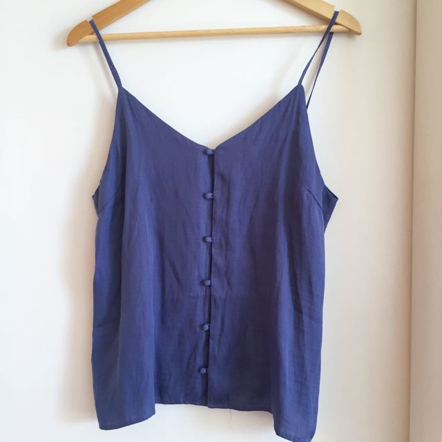 Zalora Spaghetti straps Purple Top / Blouse with buttons
