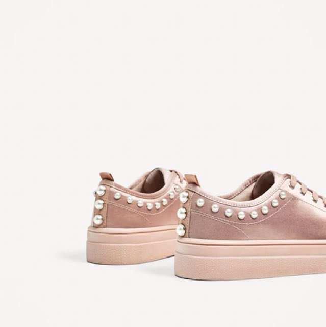 1efd4eacbde Zara Satin Sneakers with Pearls, Women's Fashion, Shoes on Carousell