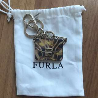 BNWT ! Furla leopard brown bag Keychain gift charm decoration handbag sling bag backpack
