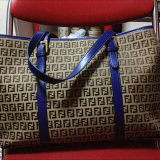 ❤️ FENDI BLUE ZUCCHINO SHOPPING TOTE