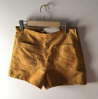 H&M Faux suede mustard shorts