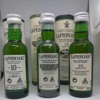 絕版 Laphroaig 10年 & Quarter Cask 50ml 威士忌酒版一套三支